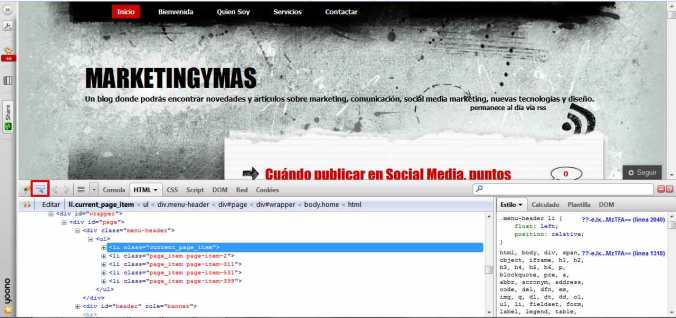 firebug para modificar plantilla wordpress