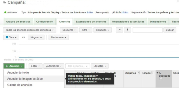 Crear anuncio Display Adwords